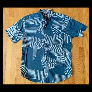 EUC VOLCOM BLUE GEOMETRIC BUTTON DOWN SHIRT sz L